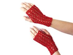Red Crochet Fingerless Gloves by karmasaccessories on Etsy, $18.00