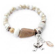 Handgemaakte armband White alabaster - Bijoux armband met luxe glaskralen! Gratis verzending in onze webwinkel!