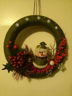 My Christmas/winter wreath. Currently hanging on our apartment door.