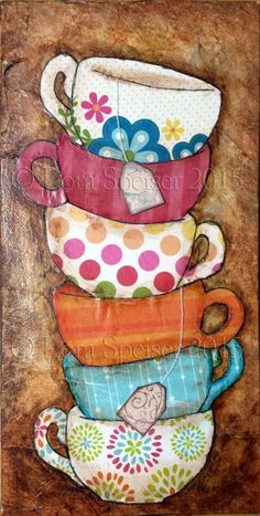 Tea Cups Stack Teacup Original Textured Painting Mixed Media Oil Acrylic Pastel Pigments Painting inches Inspirational - Té tazas pila taza textura pintura mixta acrílico por SpeiserStudio The Effective Pictures We Off - Tee Kunst, Cup Art, Decoupage Paper, Coffee Art, Kitchen Art, Texture Painting, Whimsical Art, Painting Inspiration, Art Projects