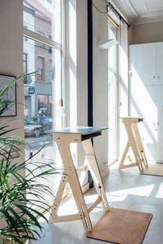 Rocking the Yoloha Yoga mats ; Home Office Space, Home Office Design, Ikea Office, Office Spaces, Work Spaces, Modular Furniture, Plywood Furniture, Furniture Design, Desk Inspiration
