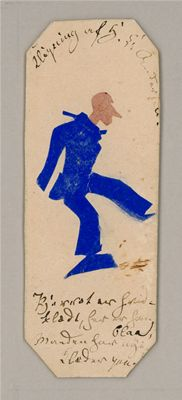 Book marker with Pierrot in blue. Hans Christian Andersen Drawings, Odense City Museums