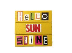 Hello Sunshine  Fridge Magnets YELLOW  Recycled Gift by FuNkTjUnK