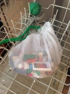 Use the Norwex Reusable Produce Bags to gather toys, and even wash them! Get yours at www.JoyAlderson.norwex.biz