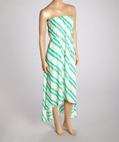 Ivory & Teal Stripe Hi-Low Strapless Dress