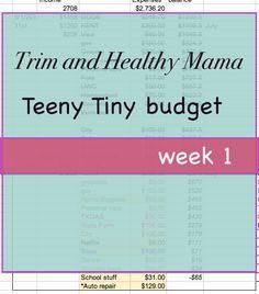 teeny budget 1 http://houseofworshippers.com/trim-healthy-mama-teeny-tiny-budget-week-1/