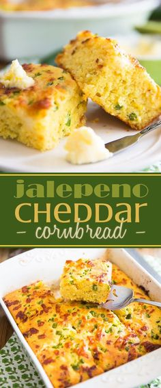Moist, tender, slightly sweet, deliciously salty and perfectly cheezy - quite simply the best Jalapeño Cheddar Cornbread you'll ever have! Hacks Cocina, Jalapeno Cheddar Cornbread, Cheesy Cornbread, Moist Cornbread, Jalapeno Recipes, Mexican Food Recipes, Dinner Recipes, Good Food, Yummy Food