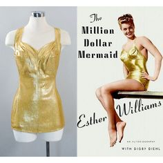 Vintage 50s GOLD Lame SWIMSUIT 1950s COLE of California Esther... ($129) ❤ liked on Polyvore featuring swimwear, one-piece swimsuits, gold swimwear, vintage bathing suits, golden swimsuit, vintage swim suit and gold one piece swimsuit