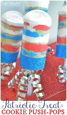 Patriotic Themed Cookie Push Pops