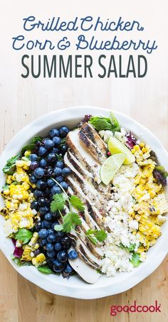Grilled Chicken, Corn and Blueberry Summer Salad - Good Cook Good Cook de verano faciles Grilled Chicken, Blueberry and Corn Salad Easy Potluck Recipes, Potluck Dishes, Salad Recipes For Dinner, Dinner Salads, Healthy Recipes, Blueberry Chicken, Blueberry Salad, Blueberry Recipes, Pesto Tortellini