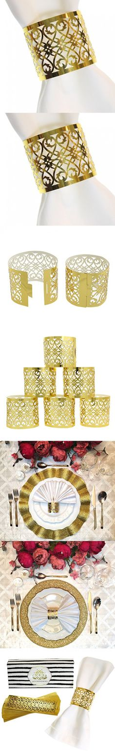 Premium Paper Napkin Rings for Table Settings Decoration, Dinner Parties, Weddings, Special Events and Gift - Set of 24 (Gold)