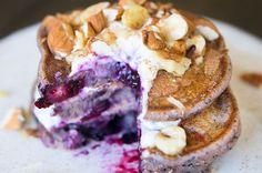 Smoothie Pancakes with Berries, Bananas, Yogurt and Nuts- 12 grams sugar in entire recipe.