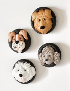 Dog Lover's Magnets Puppy Play in Black Polymer Clay Gift Set of 4 for Children's Room, Office, or School