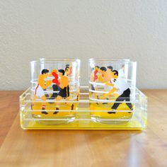 georges briard boxing ring tray and four tumblers. SO CUTE!!
