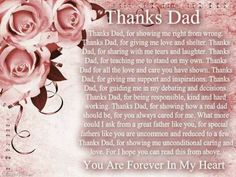 Thanks dad love quotes pink flowers heart roses father dad father's day