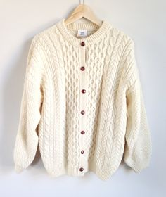 Vintage Fisherman Sweater -- Cable Knit Cardigan --  Chunky Knit Wool -- Cream -- Wood Buttons -- Made in Scotland -- Womens by ImprovGoods on Etsy