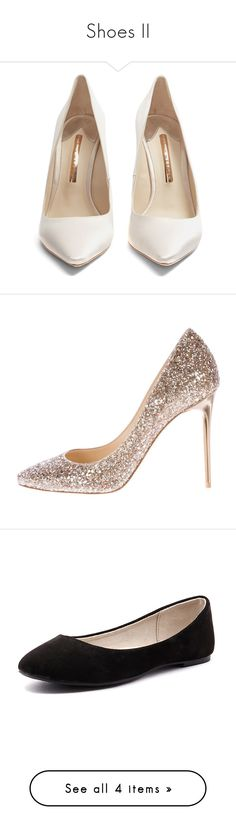 """""""Shoes II"""" by ltylerrr ❤ liked on Polyvore featuring shoes, pumps, pointy toe stiletto pumps, clear pumps, stiletto shoes, glitter stilettos, ivory satin pumps, gold, off white pumps and champagne glitter pumps"""