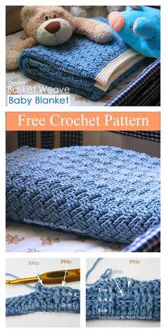 Basket Weave Baby Blanket Free Crochet Pattern #freecrochetpatterns #blanket