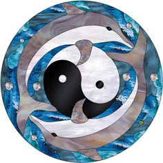 Ying Yang & Dolphins Stained Glass Window Panel - StainedGlassWindows.com