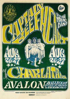 "PERFORMERS:  Captain Beefheart & The Magic Band  The Charlatans     ARTIST: Stanley Mouse & Alton Kelley  DATE:Aug 26, 1966 - Aug 27, 1966  VENUE:Avalon Ballroom (San Francisco, CA)  SIZE:14 1/8"" x 20 1/2"""
