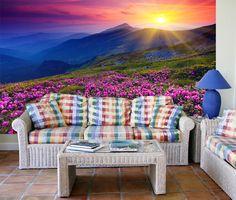 Fotomurales Pink Flowers Mountain