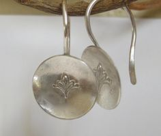 Hammered Sterling Silver Earrings  Stamped Flower  by Tokenology, $36.00