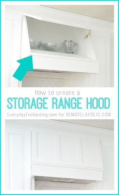 How to create a Custom Storage Range Hood via kitchenstorage whitekitchen DIYkitchen rangehood 270145677635777667 Home, Kitchen Storage, Kitchen Upgrades, Remodel, Kitchen Remodel, Home Kitchens, Storage, Diy Kitchen, Range Hood