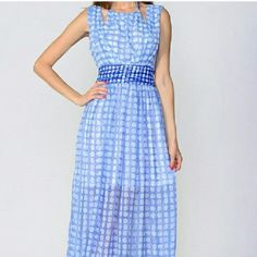 💥SALE💥 Gorgeous Blue Dot Dress, S, M, L This is a wonderful silhouette and color for every figure!  Modest shape with stylish halter create a cut-out look and a trim waist line.  Wear it with a shawl on a chilly spring evening or dress it up with statement jewelry and wow everyone at the party.  HOST PICK 6/16/16!  🎈Photos courtesy of Moon Collection. Moon Collection Dresses Maxi