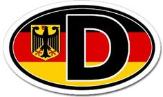 D for Deutschland Germany in German Flag Car Bumper Sticker Decal Oval : Amazon.com : Automotive