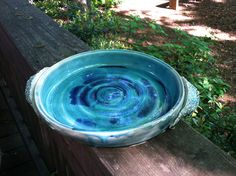 """Wheel thrown, 9"""" serving platter. White clay base with blue/green glaze. #ceramics #pottery"""