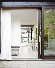 curtains, frame, open spaces, sliding glass doors, patio, windows, white interiors, dream houses, sliding doors