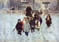 "А. Ратников. ""Нагулялись"" Socialist realism Russian vintage postcard (1957), A. Ratnikov ""Done Walking"""