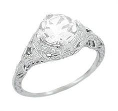 Art Deco Engraved Filigree Engagement Ring