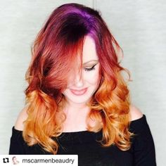 """""""This firey phoenix #haircolor has us in love!! What color combo will come up with using our…"""""""