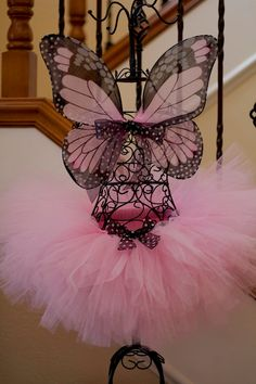 Angel Baby Monarch Butterfly Pink Tutu and Black Wings Set