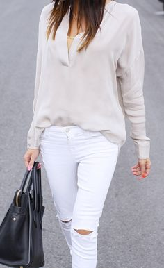 White, Grey and Black Outfit - Skinny Ripped Jeans - Fashion Style Look #fashion