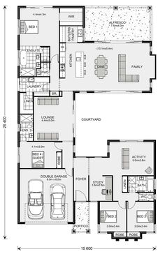 Mandalay 335 - G. Gardner Homes Bungalow Floor Plans, Home Design Floor Plans, Bedroom Floor Plans, Plan Design, Beach House Floor Plans, Design Ideas, Best House Plans, Dream House Plans, Modern House Plans