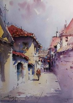 Watercolor Mixing, Pen And Watercolor, Watercolor Artwork, Watercolor Landscape, Watercolor Illustration, Landscape Paintings, Landscapes, Watercolor Architecture, Art And Architecture