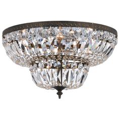 Crystorama 4 Light Clear Hand Cut Bronze Ceiling Mount