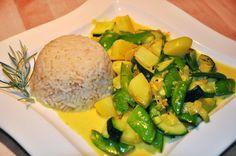 Kartoffel-Zucchini-Zuckererbsen-Curry (vegan) Zucchini, Grains, Veggies, Health Fitness, Low Carb, Rice, Lunch, Dinner, Breakfast