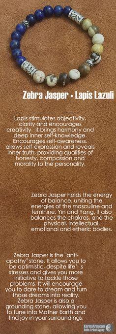 MANTRA: Determination will make my dreams a reality. - 8mm Brown Zebra Jasper Natural Gemstones - 8mm Lapis Lazuli Natural Gemstones - Tibetan Silver Rondelles - Commercial Strength, Latex Free Elasti