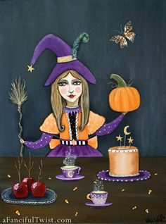 Original Painting  Halloween Tea Party with by AFancifulTwist, $425.00