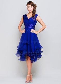 $78.29 - A-Line/Princess V-neck Knee-Length Chiffon Charmeuse Evening Dress With Ruffle (0060164) #moonprom#