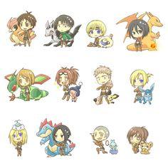 Eren, Levi, Armin, Mikasa, Petra, Hanji, Jean, Annie, Christa, Ymir, Connie, Sasha, attack on titan, AOT, SNK, Pokémon