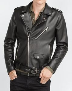 Men's leather jackets are a crucial part of every single man's set of clothes. Men need outdoor jackets for a variety of functions as well as some climate conditions. Men's Jacket Sale. Leather Jacket Outfits, Leather Jackets, Leather Men, Black Leather, Leather Shoes, Motorbike Jackets, Biker Jackets, Jacket Style, The Ordinary