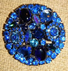 Massive Vintage Weiss Sapphire Blue Rhinestone Brooch