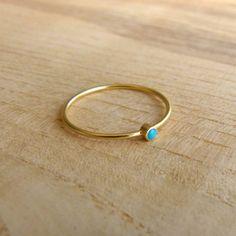 Thin Turquoise Ring - 14k Gold Ring