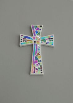 """Mosaic Wall Cross, White with Iridescent + Textured Glass + Silver Mirror, Handmade Stained Glass Mosaic Cross Wall Decor, 12"""" x 8"""" by GreenBananaMosaicCo on Etsy"""