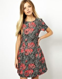 ASOS Rose Print Jacqaurd Tulip Dress