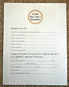 New Year's Resolutions  - oh my, I LOVE this.  Do this and feel good about yourself.